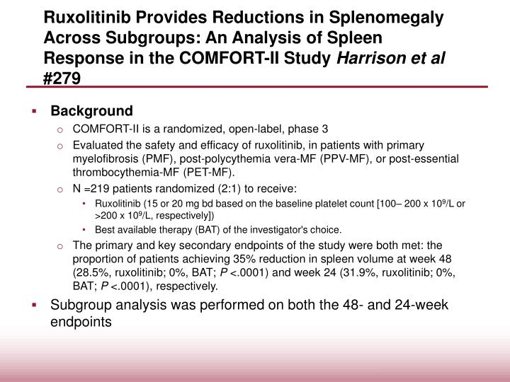 Ruxolitinib Provides Reductions in Splenomegaly Across Subgroups: An Analysis of Spleen Response in the COMFORT-II Study