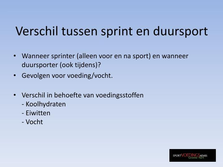 Verschil tussen sprint en duursport