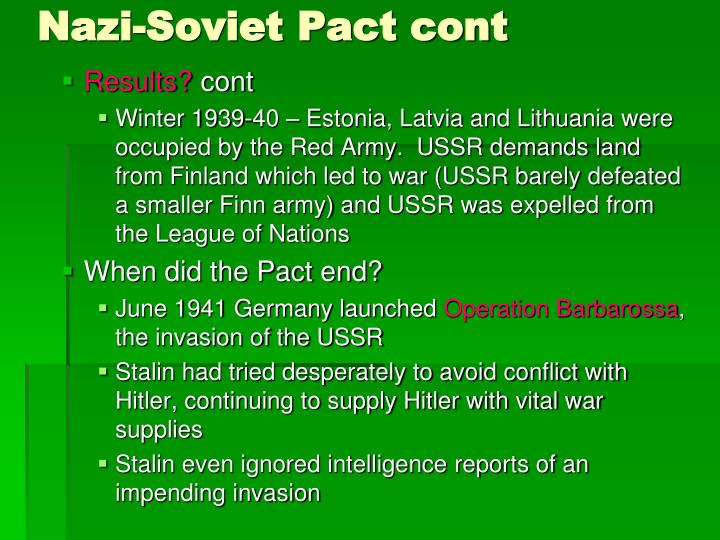 Nazi-Soviet Pact cont