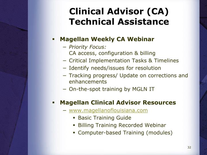 Clinical Advisor (CA) Technical Assistance