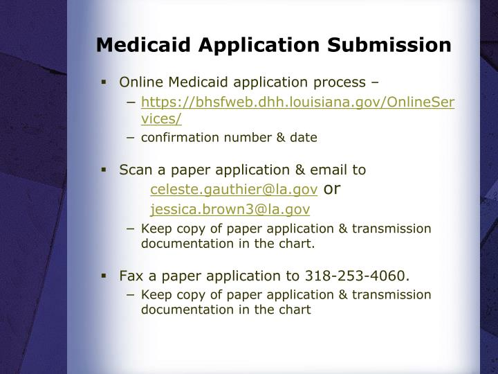 Medicaid Application Submission