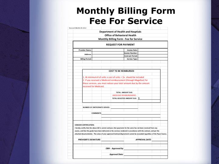 Monthly Billing Form