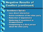 negative results of conflict continued