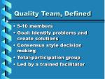quality team defined