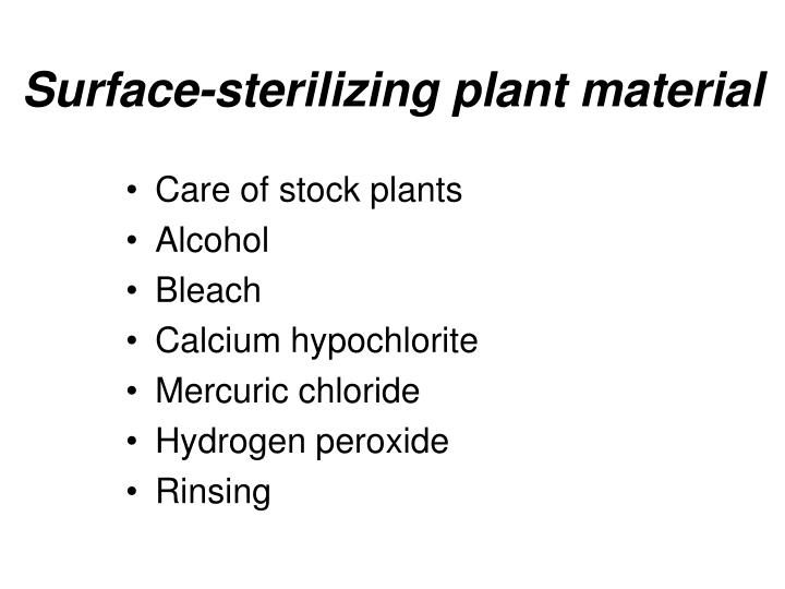 Surface-sterilizing plant material