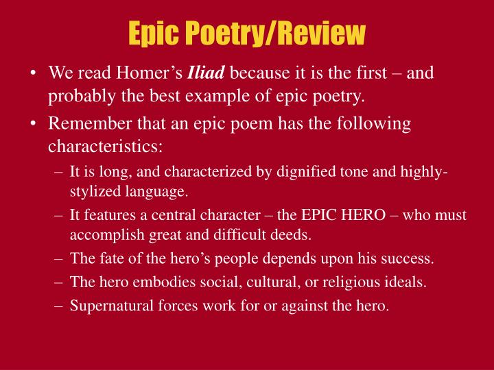 Epic Poetry/Review