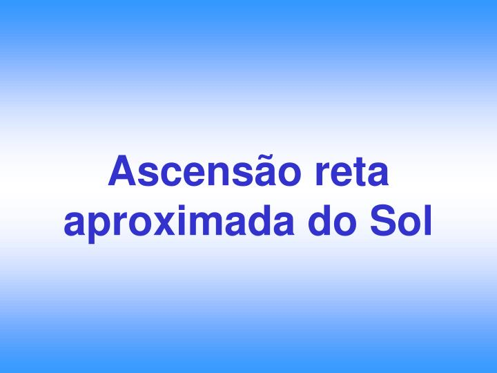 Ascensão reta aproximada do Sol