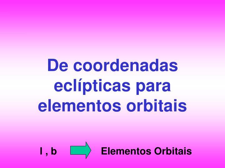 De coordenadas eclípticas para elementos orbitais