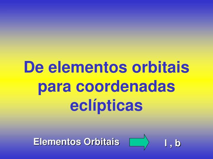De elementos orbitais para coordenadas eclípticas
