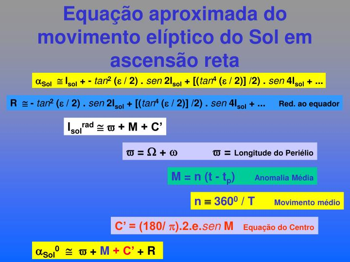 Equação aproximada do movimento elíptico do Sol em ascensão reta