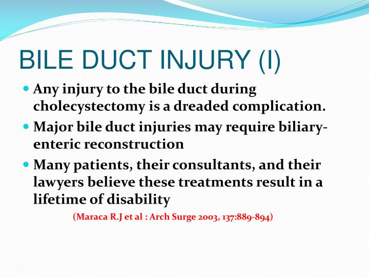 BILE DUCT INJURY (I)