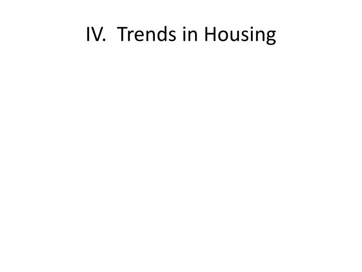 IV.  Trends in Housing
