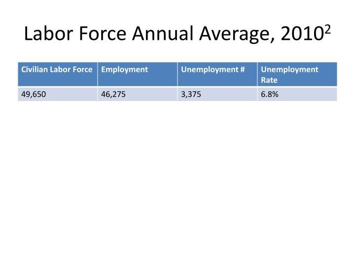 Labor Force Annual Average, 2010