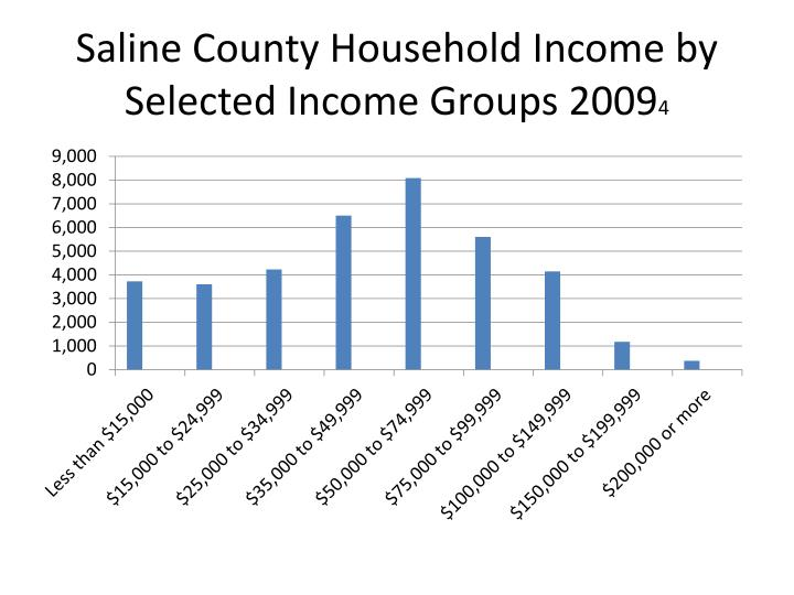 Saline County Household Income by Selected Income Groups 2009