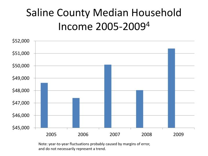 Saline County Median Household Income 2005-2009