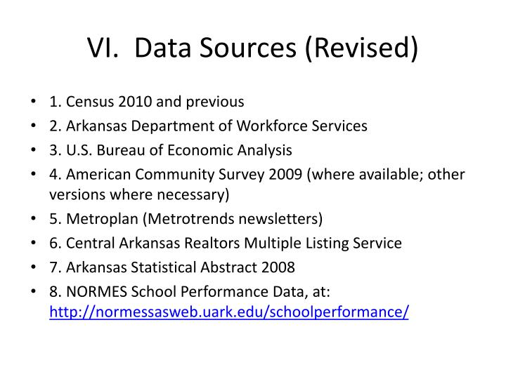 VI.  Data Sources (Revised)