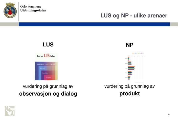 LUS og NP - ulike arenaer