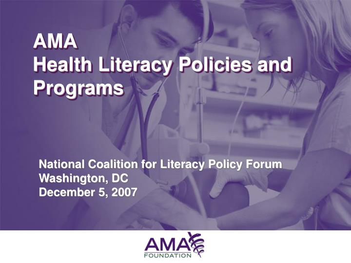Ama health literacy policies and programs