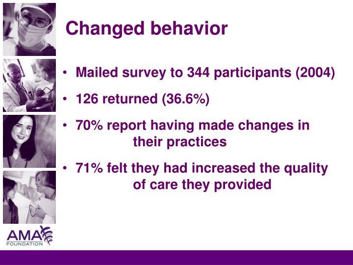 Changed behavior