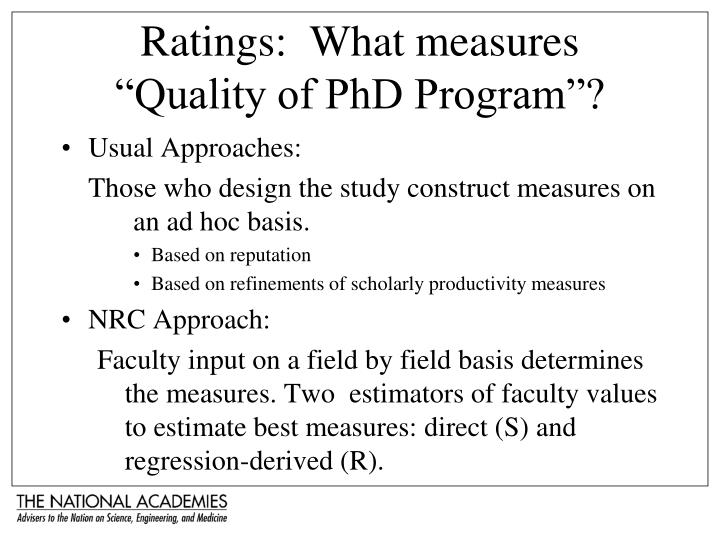 "Ratings:  What measures ""Quality of PhD Program""?"