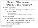 ratings what measures quality of phd program