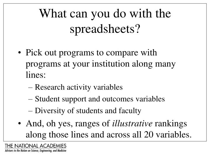 What can you do with the spreadsheets?