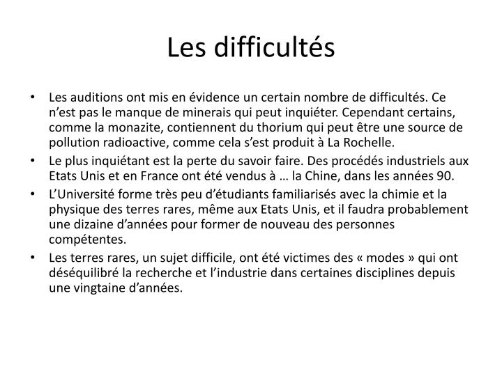 Les difficults