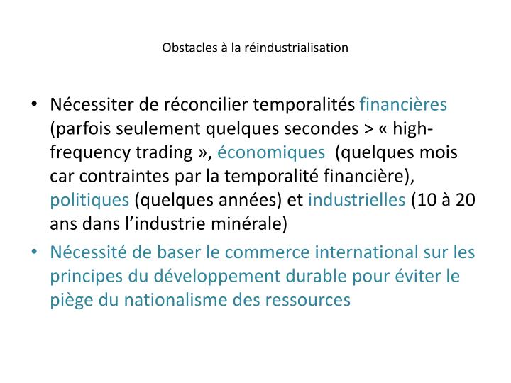 Obstacles  la rindustrialisation