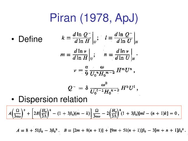 Piran (1978, ApJ)
