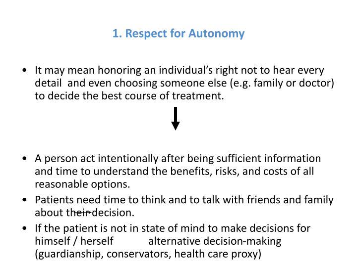 1. Respect for Autonomy