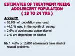 estimates of treatment needs adolescent population 18 to 24 yrs