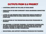outputs from e u project