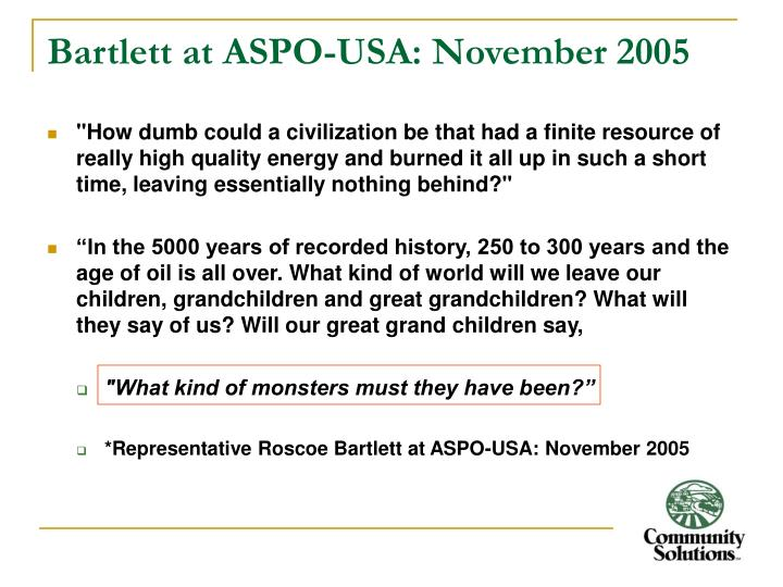Bartlett at ASPO-USA: November 2005