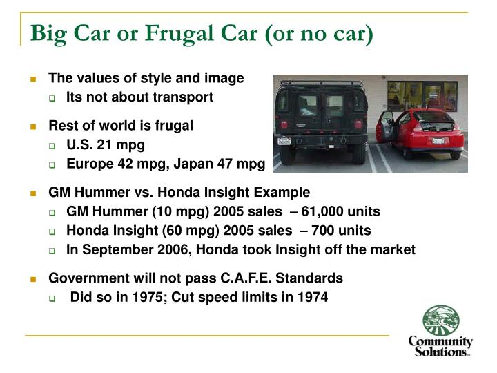 Big Car or Frugal Car (or no car)