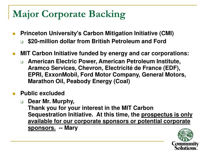Major Corporate Backing