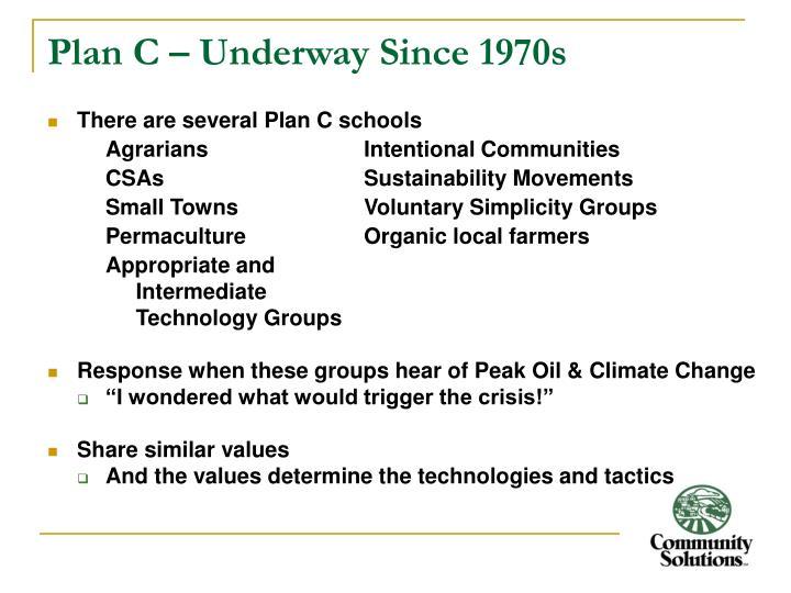 Plan C – Underway Since 1970s