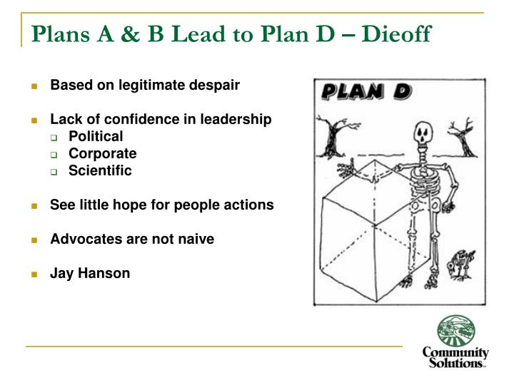 Plans A & B Lead to Plan D – Dieoff