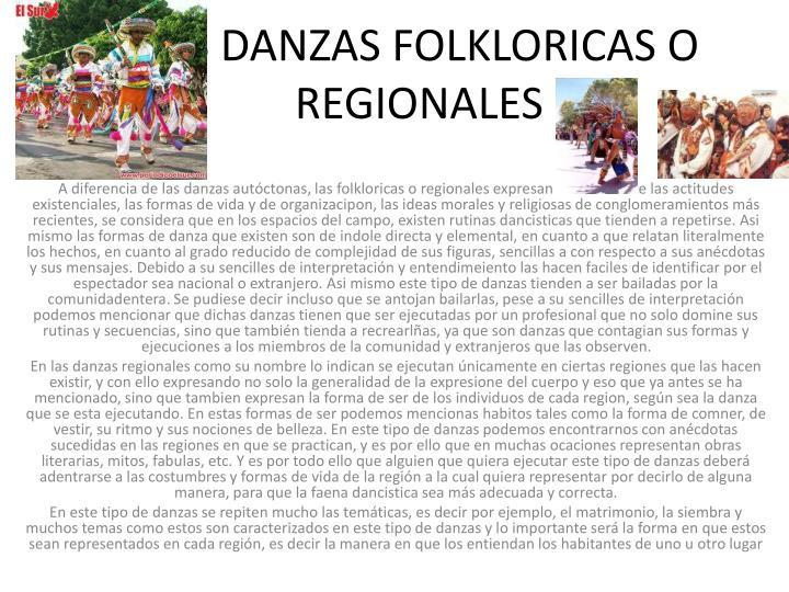 LAS DANZAS FOLKLORICAS O REGIONALES