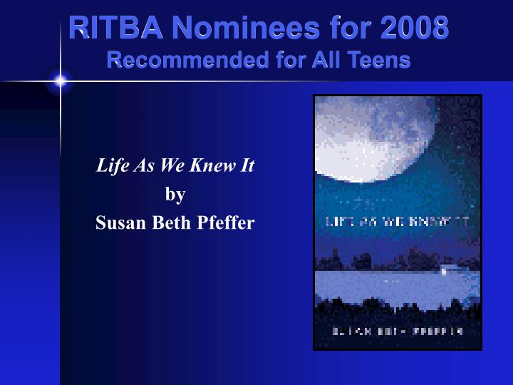 RITBA Nominees for 2008
