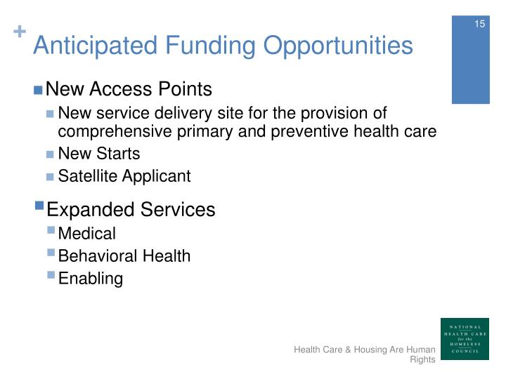 Anticipated Funding Opportunities