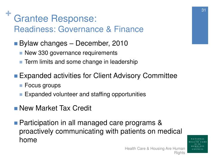 Grantee Response: