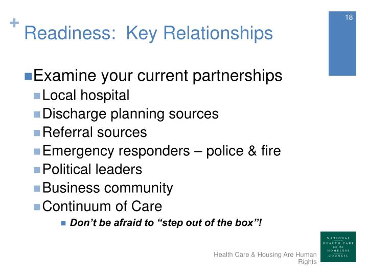 Readiness:  Key Relationships