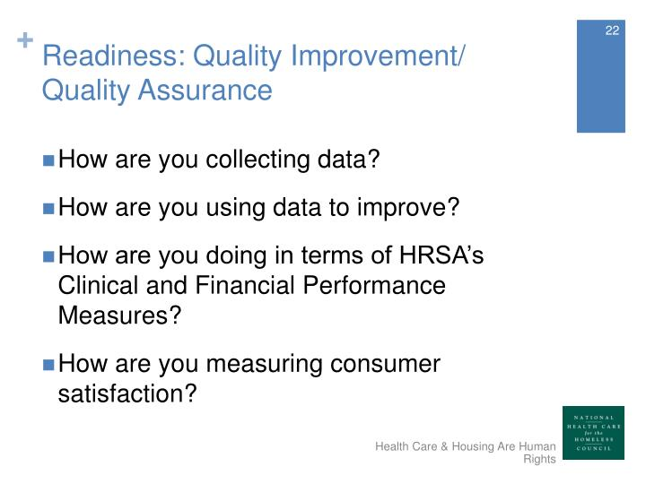 Readiness: Quality Improvement/