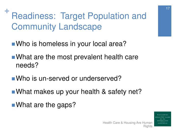 Readiness:  Target Population and Community Landscape