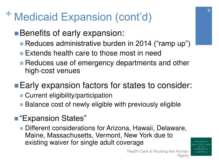 Medicaid Expansion (cont'd)