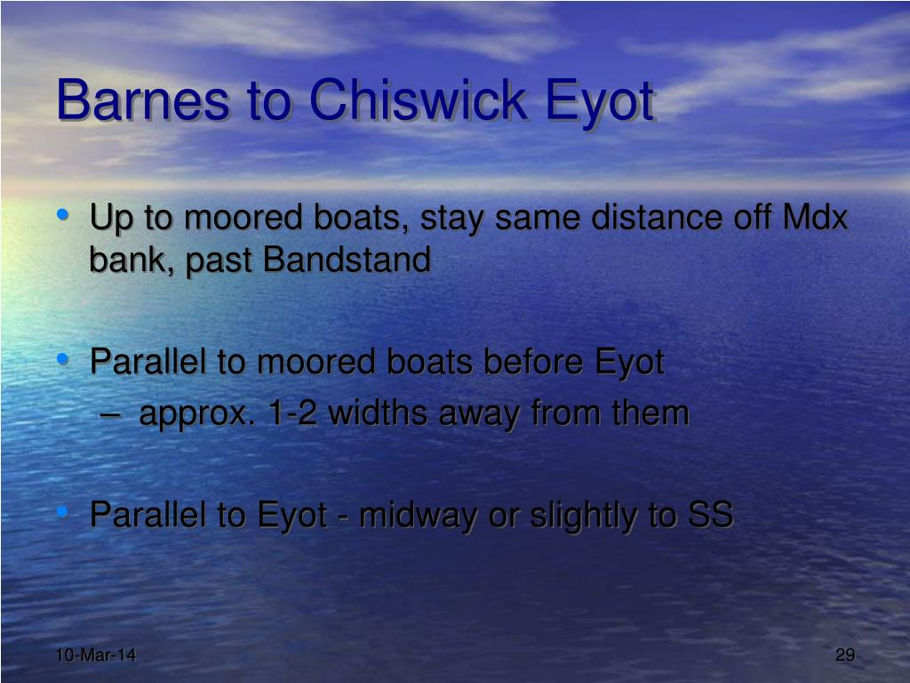 Barnes to Chiswick Eyot