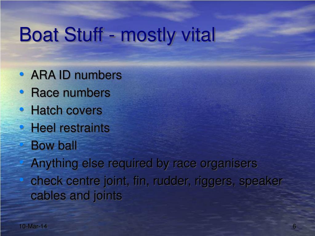 Boat Stuff - mostly vital