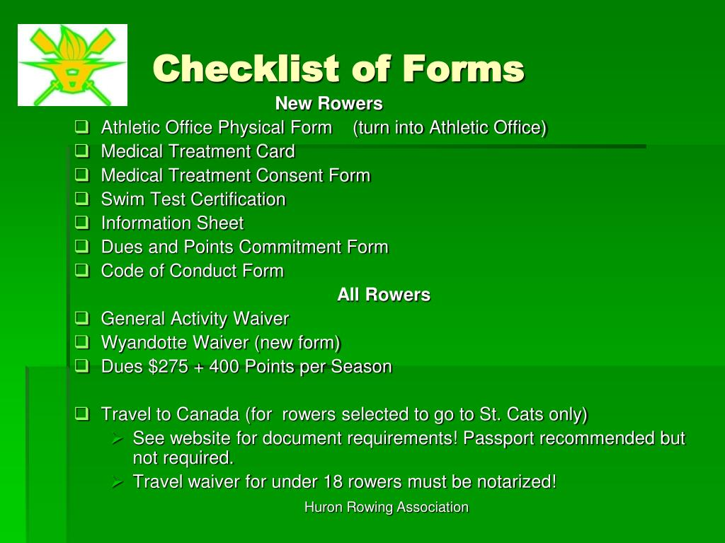 Checklist of Forms