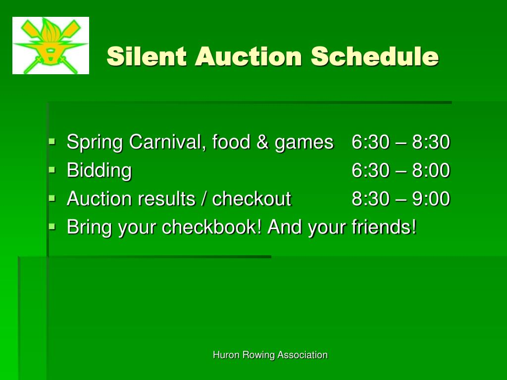 Silent Auction Schedule