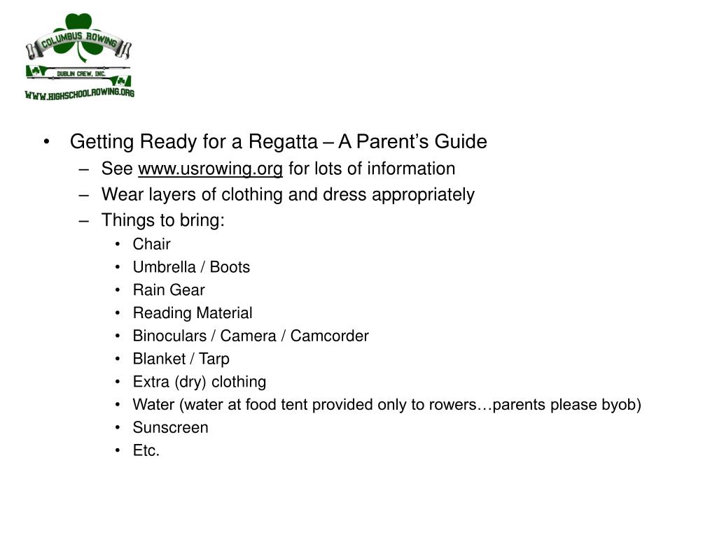 Getting Ready for a Regatta – A Parent's Guide